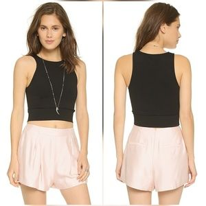 Theory Crop Top Tank Purple Jasper Stretch Ponte